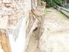 W miejscu gdzie niedawno rosło drzewo, uszkadzające strukturę budynku obecnie pozostała jedynie resztka korzeni oraz otwór w ziemi